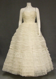 OUTSTANDING 1960's Gathered Ivory Nylon Ball Gown