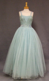 Misty Tulle 1950's Ball Gown w/ Floral Embroidered Bodice