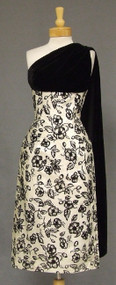 STRIKING Floral Flocked Lame 1960's Cocktail Dress w/ Velvet