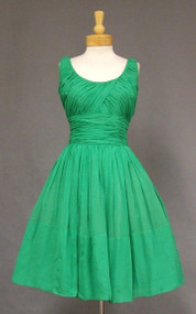 Lovely Green Chiffon Vintage Cocktail Dress w/ Gathers in a Good Size