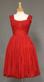 FANTASTIC Red Chiffon Vintage Cocktail Dress w/ Gathered Bodice & Balloon Hem