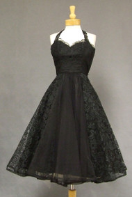 Beautiful Black Lace & Tulle 1950's Halter Dress