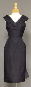 Navy Silk Taffeta & Organdy 1950's Wiggle Dress w/ Train