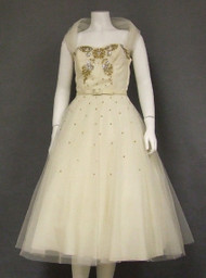 GORGEOUS Ivory Tulle 1950's Cocktail Dress w/ Sequined Bodice