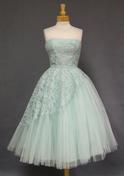 Robins Egg Blue Asymmetrical Lace & Tulle 1950\'s Prom Dress ...