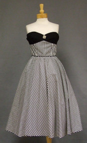 Eye Popping Striped Cotton 1950's Party Dress w/ Rhinestone Buttons