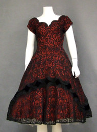 Frank Starr Black Lace & Velvet 1950's Cocktail Dress w/ Red Lining