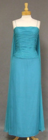 Turquoise Silk Chiffon 1960's Evening Gown w/ Gathered Bodice & Watteau Train