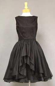 Suzy Perette Black Organdy Vintage Cocktail Dress w/ Layered Skirt