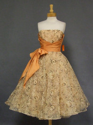 AMAZING Will Steinman Embroidered Tulle 1950s Cocktail Dress