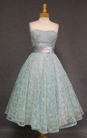 Embroidered Aqua Tulle 1950's Prom Dress