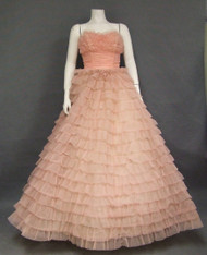 Ruffled Pink Nylon 1960's Prom Gown