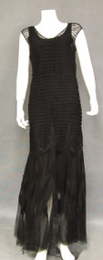 Superb Pleated Tulle 1930's Evening Gown w/ Appliqued Skirt