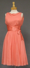 Wilson Folmar Salmon Silk Chiffon & Satin 1960's Cocktail Dress