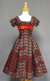 KNOCKOUT Embroidered Taffeta 1950's Cocktail Dress w/ Red Satin Insets