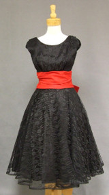Striking Black Lace & Red Taffeta 1950's Cocktail Dress 39