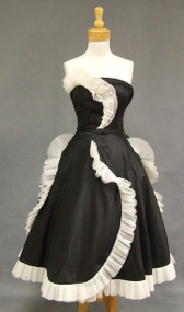 OUTSTANDING Black Silk Taffeta 1950's Cocktail Dress w/ Tulle Ruffles