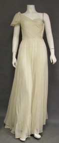 GORGEOUS Pleated Marquisette One Shouldered 1940's Evening Gown