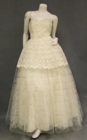 Early 1960's Strapless Lace & Tulle Weddng Gown w/ Bolero