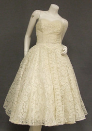 Tea Length Ivory Lace 1950's Wedding Dress w/ Jacket