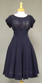 Navy Crepe 1950's Cocktail Dress w/ Gathered Illusion Bodice