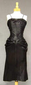 BOMBSHELL Black Satin 1940's Cocktail Dress w/ Matching Jacket
