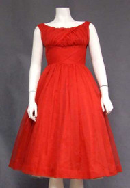 Gorgeous Red Chiffon Vintage Dress w/ Gathered Bust