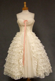 Ivory Lace & Tulle 1950's Prom Dress w/ Pink Bow