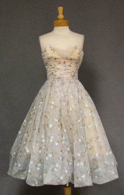 Pale Blue Chiffon Bubble Hemmed Strapless 1950's Dress