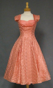 Embroidered Salmon Organdy 1950's Cocktail Dress