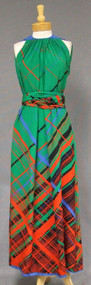 Pauline Trigere Green Plaid Crepe Evening Gown w/ Sash/Wrap