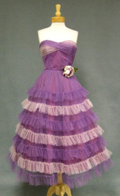 Charming Two Toned Purple Tulle Strapless 1950's Prom Dress