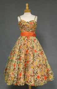 GORGEOUS Will Steinman Floral Voile 1950's Cocktail Dress