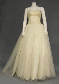 SUPERB Candlelight Tulle & Satin Strapless 1950's Ball Gown