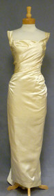 EXQUISITE Ceil Chapman Oyster Satin 1950's Evening Gown