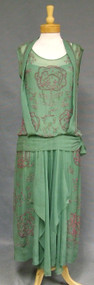 EXQUISITE Green & Pink Beaded Silk 1920's Evening Gown