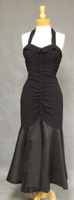 Black Crepe & Taffeta 1940's Mermaid Halter Dress