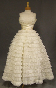 Rows of RUFFLES!  Fabulous 1960's Ivory Ball Gown
