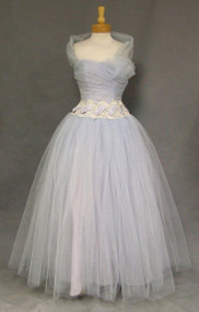 Gorgeous Blue Tulle 1950's Ball Gown w/ Gathers & Lace 37