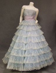 FABULOUS Flocked Marquisette Ball Gown w/ HUGE Skirt
