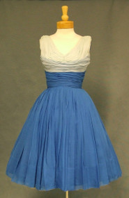 Gorgeous Gathered Tri Toned Blue Chiffon Cocktail Dress
