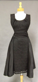FABULOUS Black Lace Vintage Cocktail Dress w/ Pleated Taffeta Sash