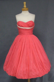 STRIKING Hot Pink Strapless Balloon Dress w/ Watteau Back