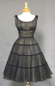 GORGEOUS Black Illusion 1950's Cocktail Dress w/ Velvet Bands