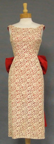 BOMBSHELL Ecru Lace & Red Taffeta 1960's Cocktail Dress