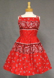 Cute Red Bandana Print Vintage Sun Dress