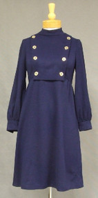 FAB Navy Knit Military Style 1960's Dress w/ Gold Buttons