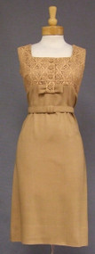 Stylish Tan Lace & Linen 1950's Summer Dress w/ Jacket