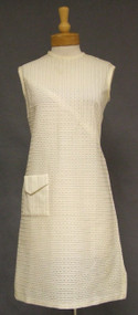 Sheer Cream Knit Vintage Shift Dress