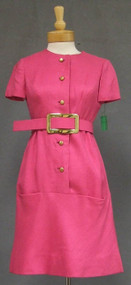 GREAT Hot Pink Sarmi Day Dress w/ Oversized Belt